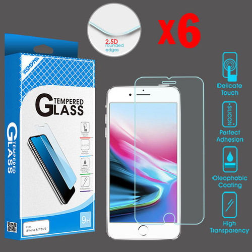 Asmyna Tempered Glass Screen Protector (2.5D)(6-pack) for Apple iPhone 8/7 / 6s/6 - Clear