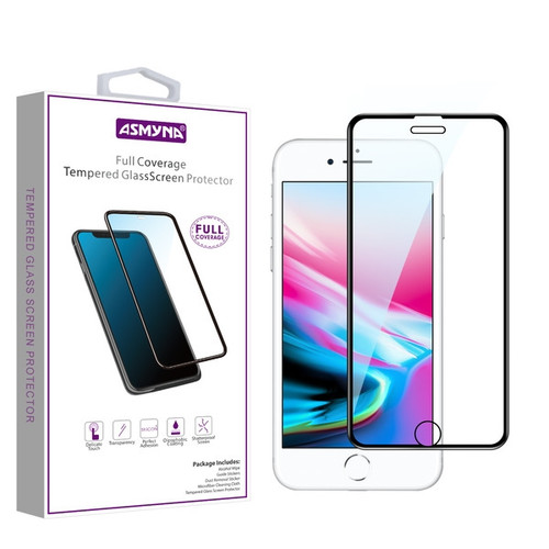 Asmyna Full Coverage Tempered Glass Screen Protector for Apple iPhone 8/7/iPhone SE (2020) / 6s/6 - Black