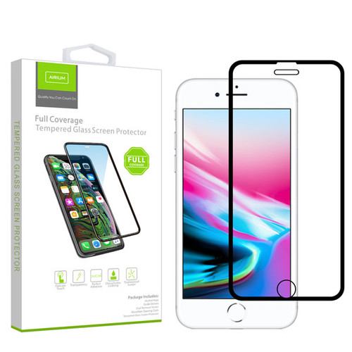Airium Full Coverage Tempered Glass Screen Protector for Apple iPhone 8/7/iPhone SE (2020) / 6s/6 - Black