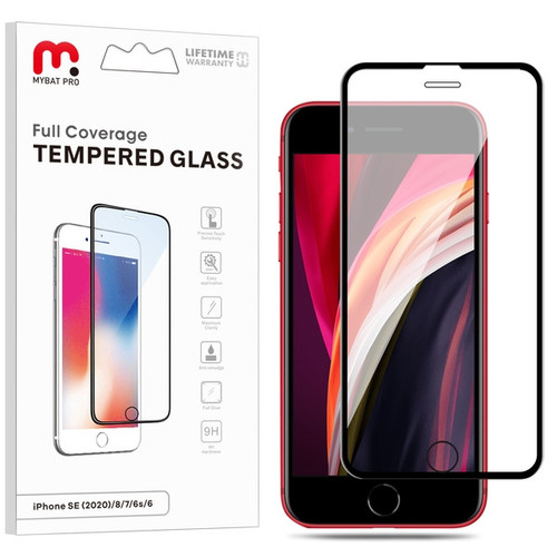MyBat Pro Full Coverage Tempered Glass Screen Protector for Apple iPhone SE (2020)/iPhone 8/7 / 6s/6 - Black