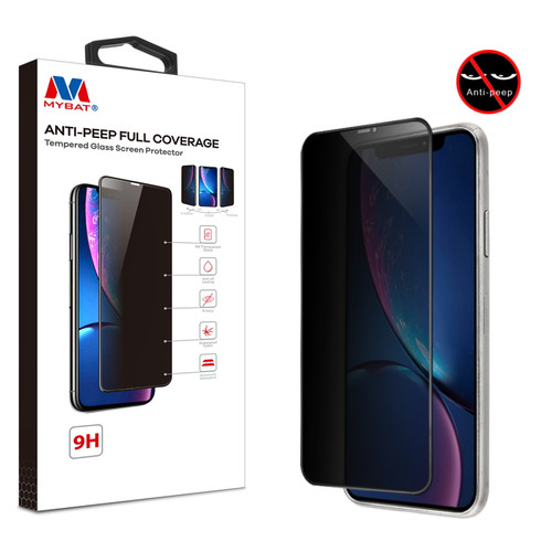 MyBat Anti-peep Full Coverage Tempered Glass Screen Protector for Apple iPhone XR / 11 - Black