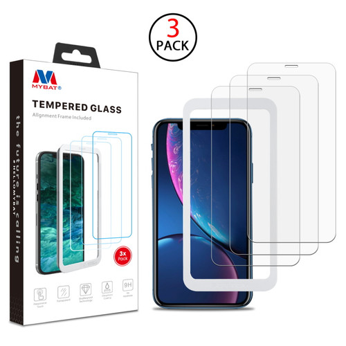 MyBat (3 Pack)Tempered Glass Screen Protector with Installation Frame for Apple iPhone XR / 11 - Clear