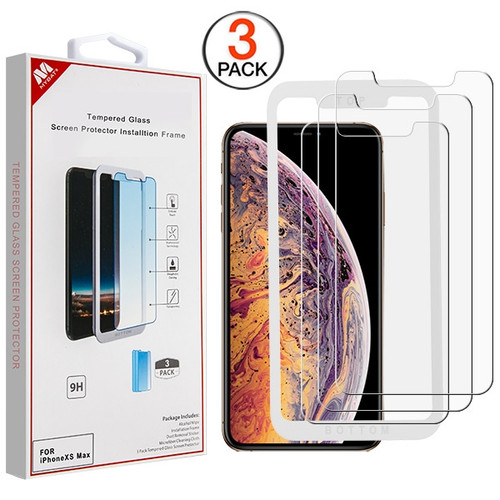 MyBat (3 Pack)Tempered Glass Screen Protector with Installation Frame for Apple iPhone XS Max / 11 Pro Max - Clear