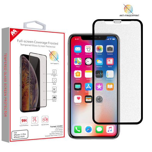 MyBat Full-screen Coverage Frosted Tempered Glass Screen Protector for Apple iPhone XS/X / 11 Pro - Black