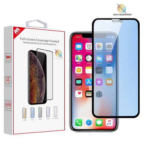 MyBat Full-screen Coverage Frosted Tempered Glass Screen Protector for Apple iPhone XS/X / 11 Pro - Blue