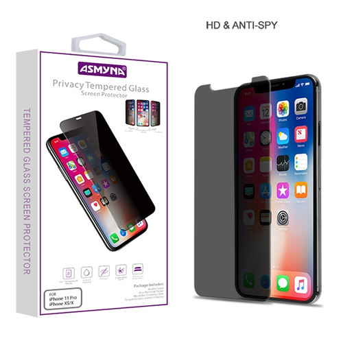 Asmyna Privacy Tempered Glass Screen Protector (2.5D) for Apple iPhone XS/X / 11 Pro - Transparent Smoke