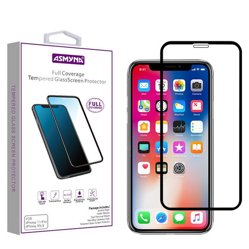 Asmyna Full Coverage Tempered Glass Screen Protector for Apple iPhone XS/X / 11 Pro - Black