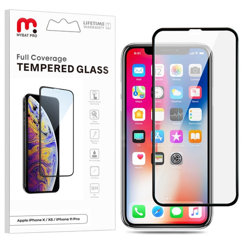 MyBat Pro Full Coverage Tempered Glass Screen Protector for Apple iPhone XS/X / 11 Pro - Black