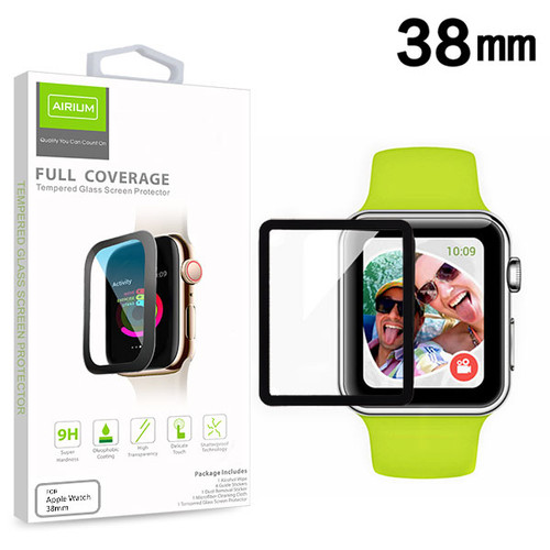 Airium Full Coverage Tempered Glass Screen Protector for Apple watch 38mm/Watch Series 3 38mm / Watch Series 2 38mm - Black