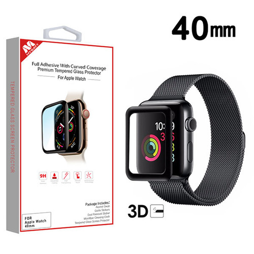 MyBat Full Adhesive with Curved Coverage Premium Tempered Glass Screen Protector for Apple Watch Series 4 40mm/Watch SE 40mm / Watch Series 6 40mm - Black