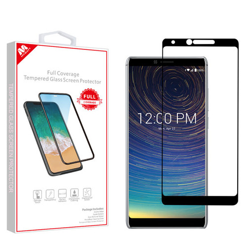 MyBat Full Coverage Tempered Glass Screen Protector for Coolpad 3705A (Legacy) - Black