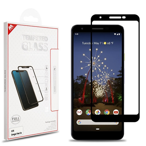 MyBat Full Coverage Tempered Glass Screen Protector for Google Pixel 3a - Black
