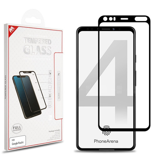 MyBat Full Coverage Tempered Glass Screen Protector for Google Pixel 4 - Black