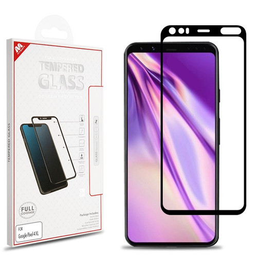 MyBat Full Coverage Tempered Glass Screen Protector for Google Pixel 4 XL - Black