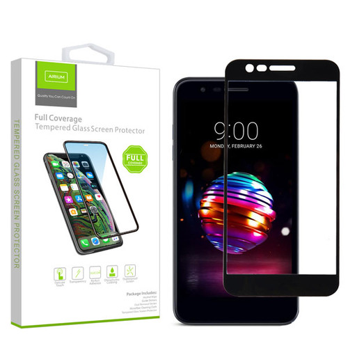 Airium Full Coverage Tempered Glass Screen Protector for LG K10 (2018)/K30 / Harmony 2 - Black