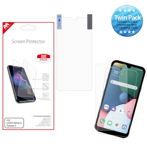 MyBat Screen Protector Twin Pack for LG K31 (Aristo 5)/Fortune 3/Tribute Monarch / Phoenix 5 - Clear