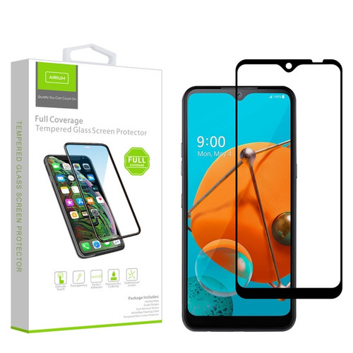 Airium Full Coverage Tempered Glass Screen Protector for LG K51 / Reflect - Black