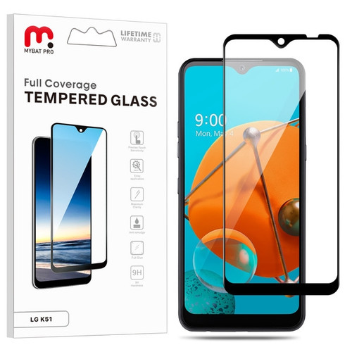 MyBat Pro Full Coverage Tempered Glass Screen Protector for LG K51 / Reflect - Black