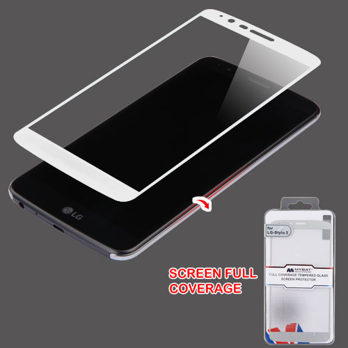 MyBat Full Coverage Tempered Glass Screen Protector for LG LS777 (Stylo 3)/Stylo 3 Plus / MP450 - Silver