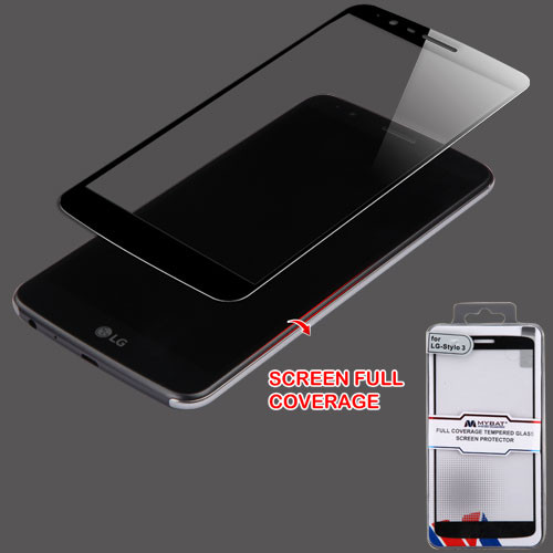 MyBat Full Coverage Tempered Glass Screen Protector for LG LS777 (Stylo 3)/Stylo 3 Plus / MP450 - Black