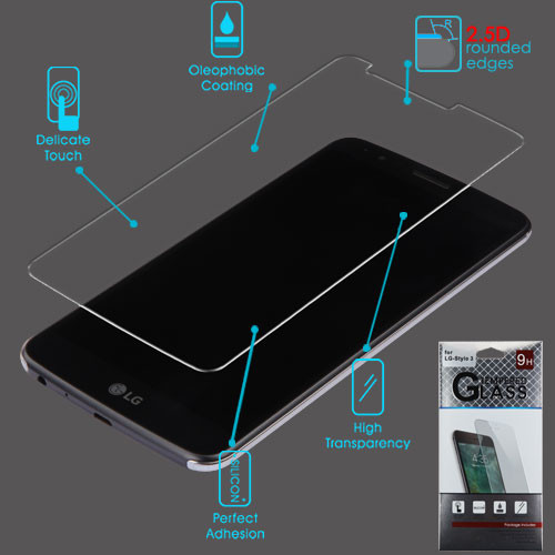 Airium Tempered Glass Screen Protector (2.5D) for LG LS777 (Stylo 3)/Stylo 3 Plus / MP450 - Clear