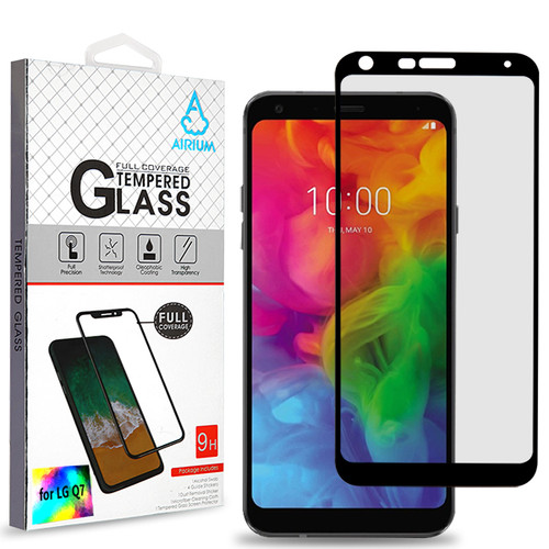Airium Full Coverage Tempered Glass Screen Protector for LG Q7 / Q7+ - Black