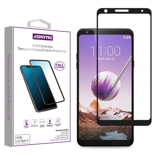 Asmyna Full Coverage Tempered Glass Screen Protector for LG Stylo 5 - Black