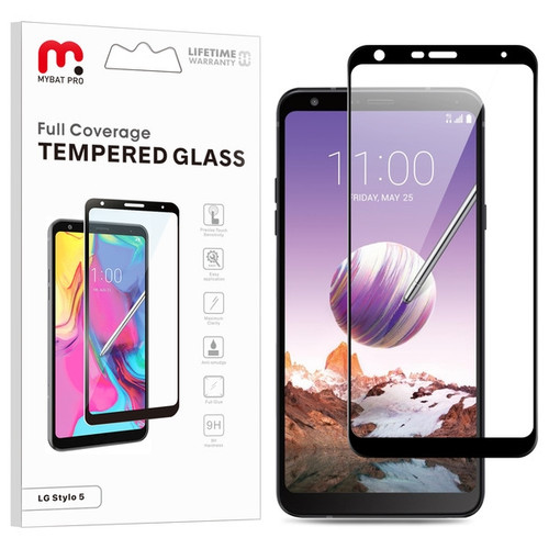 MyBat Pro Full Coverage Tempered Glass Screen Protector for LG Stylo 5 - Black