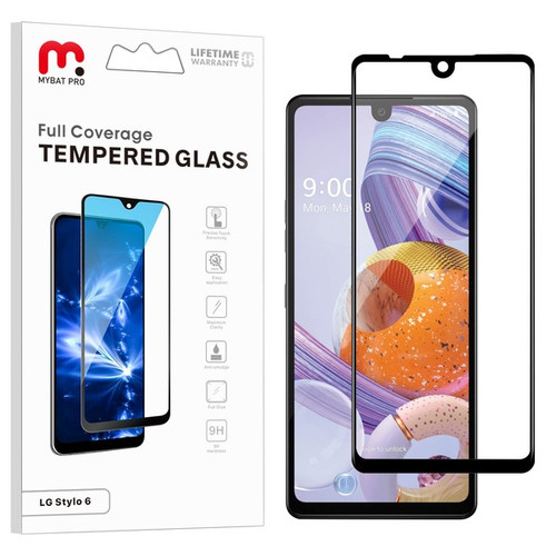 MyBat Pro Full Coverage Tempered Glass Screen Protector for LG Stylo 6 - Black