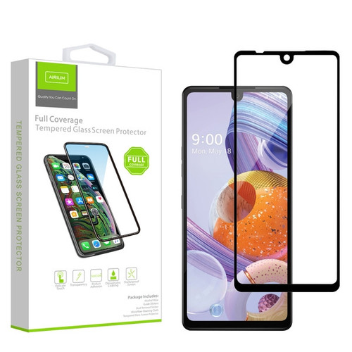 Airium Full Coverage Tempered Glass Screen Protector for LG Stylo 6 - Black