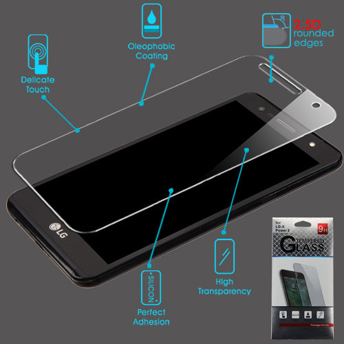Airium Tempered Glass Screen Protector (2.5D) for LG US701 (X Power 2)/M327 (X Charge) / L63BL (Fiesta)/L64VL - Clear