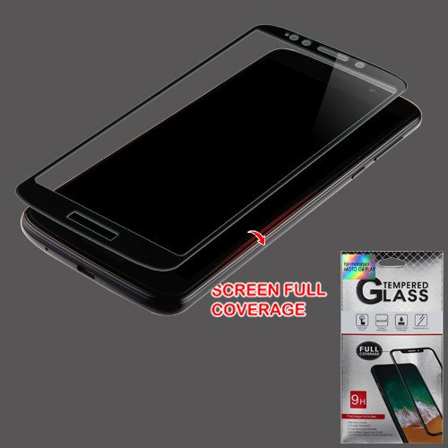 Airium Full Coverage Tempered Glass Screen Protector for Motorola Moto G6 Play / Moto G6 Forge - Black