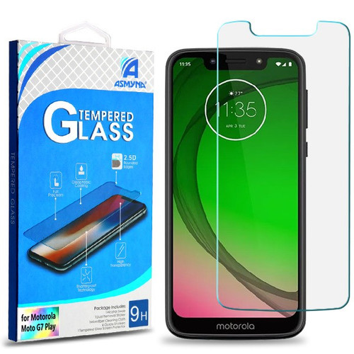 Asmyna Tempered Glass Screen Protector (2.5D) for Motorola Moto G7 Play Alcatel T-Mobile Revvlry - Clear