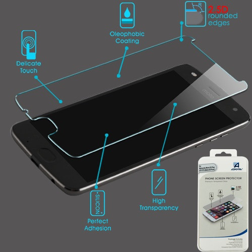 Asmyna Tempered Glass Screen Protector (2.5D) for Motorola XT1773 (Moto E4 Plus)/Moto Z2 Play / Moto Z2 Force - Clear