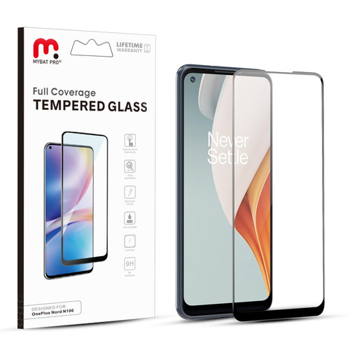 MyBat Pro Full Coverage Tempered Glass Screen Protector for Oneplus Nord N100 - Black