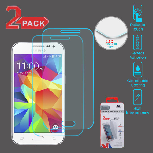 MyBat Tempered Glass Screen Protector (2.5D)(2-pack) for Samsung G360 (Prevail LTE)/Galaxy Core Prime / Galaxy Prevail Lte - Clear