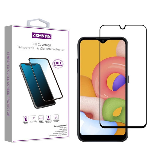 Asmyna Full Coverage Tempered Glass Screen Protector for Samsung Galaxy A01 - Black