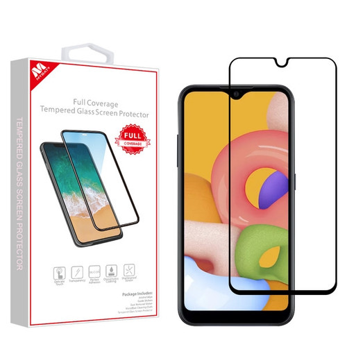 MyBat Full Coverage Tempered Glass Screen Protector for Samsung Galaxy A01 - Black