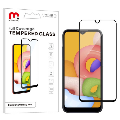 MyBat Pro Full Coverage Tempered Glass Screen Protector for Samsung Galaxy A01 - Black