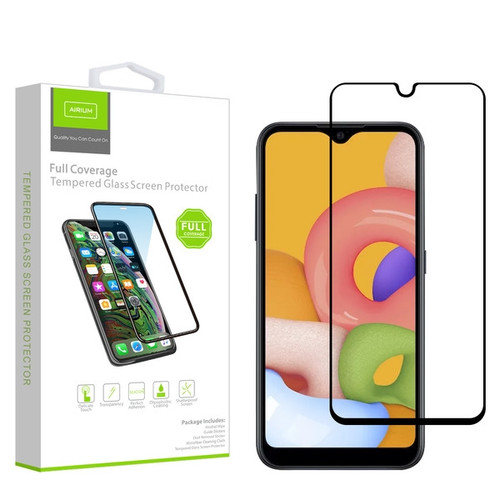 Airium Full Coverage Tempered Glass Screen Protector for Samsung Galaxy A01 - Black