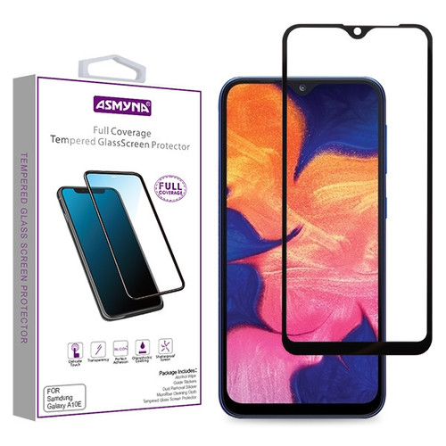 Asmyna Full Coverage Tempered Glass Screen Protector for Samsung Galaxy A10E - Black