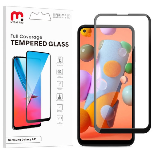 MyBat Pro Full Coverage Tempered Glass Screen Protector for Samsung Galaxy A11 - Black