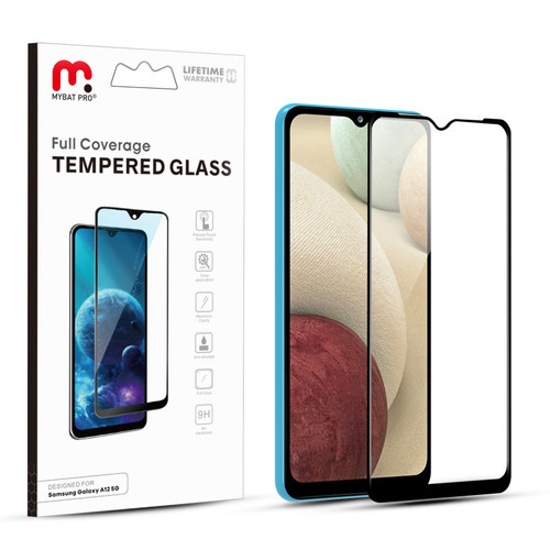 MyBat Pro Full Coverage Tempered Glass Screen Protector for Samsung Galaxy A12 5G - Black
