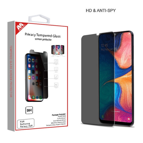MyBat Privacy Tempered Glass Screen Protector (2.5D) for Samsung Galaxy A20 - Transparent Smoke