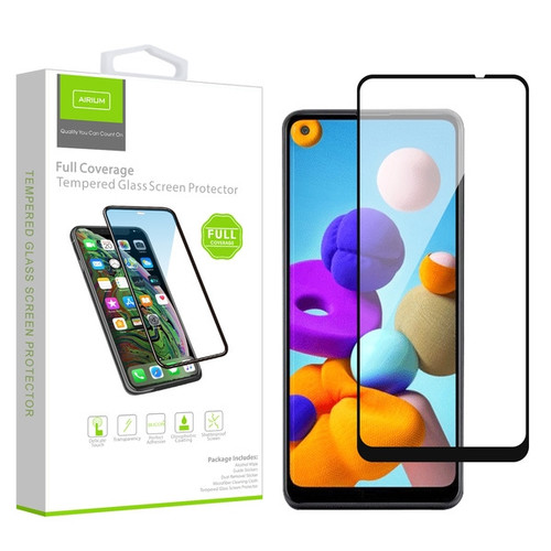 Airium Full Coverage Tempered Glass Screen Protector for Samsung Galaxy A21 - Black