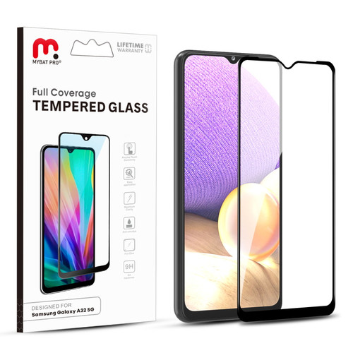 MyBat Pro Full Coverage Tempered Glass Screen Protector for Samsung Galaxy A32 5G - Black