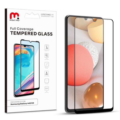 MyBat Pro Full Coverage Tempered Glass Screen Protector for Samsung Galaxy A42 5G - Black
