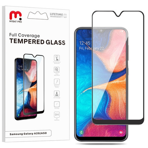 MyBat Pro Full Coverage Tempered Glass Screen Protector for Samsung Galaxy A50 - Black