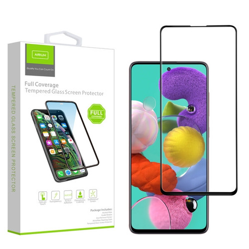 Airium Full Coverage Tempered Glass Screen Protector for Samsung Galaxy A51/Galaxy S20 Fan Edition / Galaxy A51 5G - Black