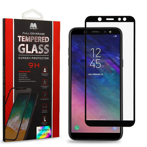 MyBat Full Coverage Tempered Glass Screen Protector for Samsung Galaxy A6 (2018) - Black